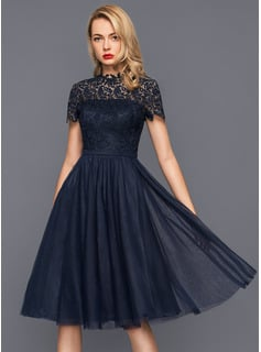 A-Line High Neck Knee-Length Tulle Cocktail Dress