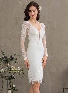 Sheath/Column V-neck Knee-Length Stretch Crepe Wedding Dress