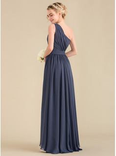 A-Line One-Shoulder Asymmetrical Chiffon Evening Dress With Cascading Ruffles