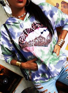 Lange ermer Regelmessig Trykk Tie Dye Leopard lommer Hettegenser