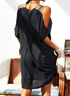 paljetter Solid Skiftekjoler Kald skulder Kortermer Midi Elegant Lille svarte Motekjoler
