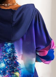Lange ermer Regelmessig Christmas Trykk skog Jerseykjorte
