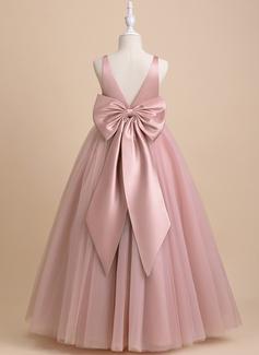 Ball-Gown/Princess Floor-length Flower Girl Dress - Tulle Sleeveless V-neck With Bow(s)/V Back