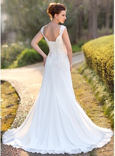 A-Line/Princess V-neck Court Train Chiffon Wedding Dress With Lace Beading Sequins