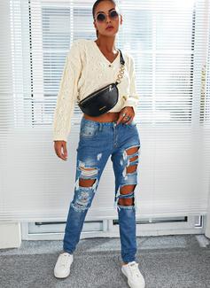 V-hals Lange ermer Kort Solid Avslappet Cardigans