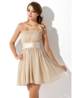 A-Line/Princess One-Shoulder Short/Mini Chiffon Bridesmaid Dress With Ruffle Flower(s) Bow(s)
