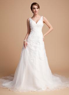 A-Line/Princess V-neck Chapel Train Satin Organza Wedding Dress With Ruffle Beading Appliques Lace