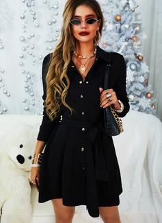 Solid A-line kjole Skjortekrage Lange ermer Midi Avslappet Elegant Lille svarte Skjorte skater Motekjoler