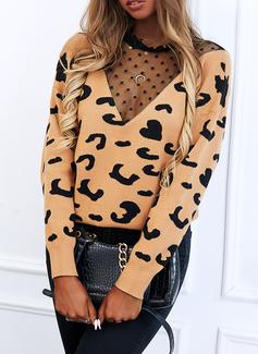 Rund hals Lange ermer Regelmessig Leopard Avslappet Gensere