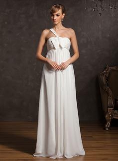 Empire One-Shoulder Floor-Length Chiffon Maternity Bridesmaid Dress With Ruffle Bow(s)