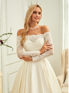 Ball-Gown/Princess Off-the-Shoulder Sweep Train Satin Wedding Dress With Beading Sequins