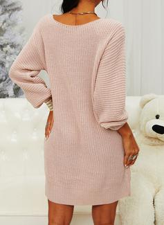 En skuldret Lange ermer Solid Avslappet Lang Gensere kjoler