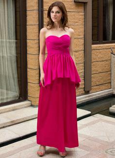 Sheath/Column Sweetheart Ankle-Length Maternity Bridesmaid Dress With Cascading Ruffles