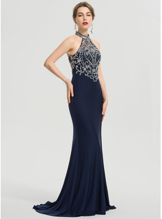 Sheath/Column Scoop Neck Sweep Train Jersey Prom Dresses With Beading Sequins Split Front