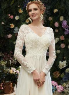 A-Formet V-hals Gulvlengde Brudekjole med Blonder paljetter