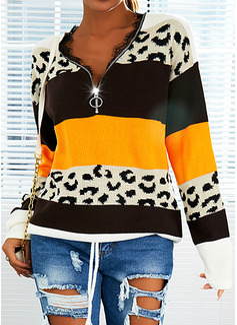 V-hals Lange ermer Regelmessig Leopard Color Block Avslappet Gensere