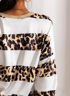 V-hals Lange ermer Regelmessig Leopard Genser