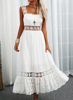 Blonder Solid ryggløse A-line kjole Firkantet utringning Ermeløs Maxi Ferie skater Motekjoler