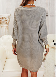 V-hals Lange ermer Solid Avslappet Lang Gensere kjoler