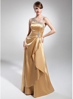 A-Line One-Shoulder Floor-Length Charmeuse Evening Dress With Ruffle Beading Sequins