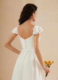 A-Formet kjæreste Gulvlengde Brudekjole med Frynse