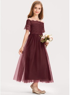 A-Line Off-the-Shoulder Ankle-Length Tulle Lace Junior Bridesmaid Dress
