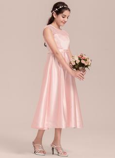 A-Line Scoop Neck Tea-Length Satin Junior Bridesmaid Dress