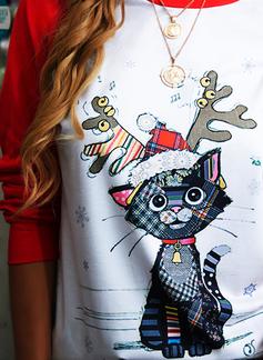 Rund hals Lange ermer Regelmessig Christmas Dyr Ut Jerseykjorte