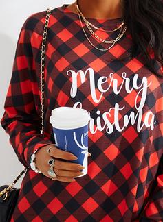 Rund hals Lange ermer Regelmessig Christmas Rutete Trykk lommer Figur Jerseykjorte