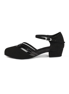 Women's Patent Leather Suede Flats Ballroom With Ankle Strap Dance Shoes