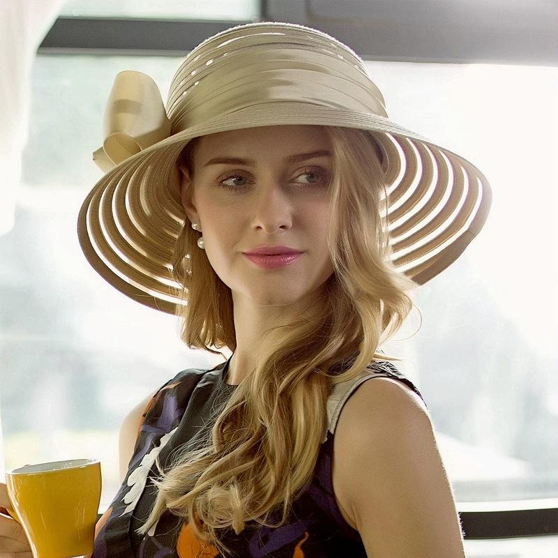 Damene ' Glamorøse Cambric med Bowknot Stiv / Cloche Hatt