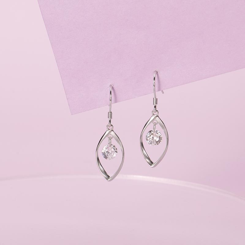 Damene ' Unik 925 Sterling Sølv med Diamond Kubikk Zirkonia øredobber Venner/Brudepike
