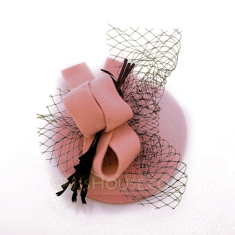 Damene ' Elegant Ull med Tyll Baqueira Hatt/Tea Party Hats