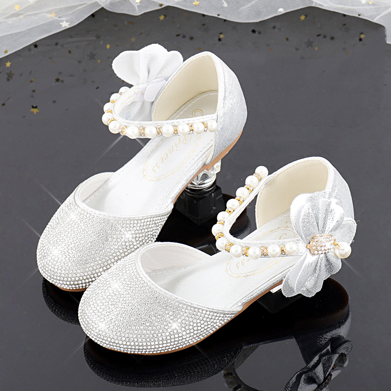 Jentas Round Toe Sparkling Glitter Flower Girl Shoes med Profilering Bowknot Crystal Perle