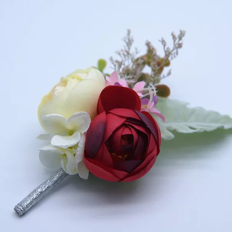 Hånd Bundet Kunstige Blomster Boutonnie (som selges i et enkelt stykke) -