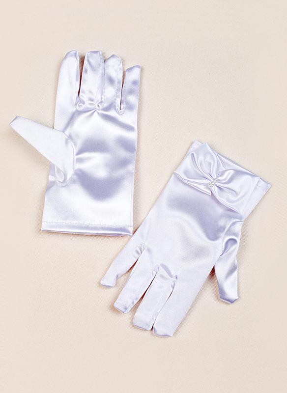 Elastic Satin With Bow Wrist Length Glove