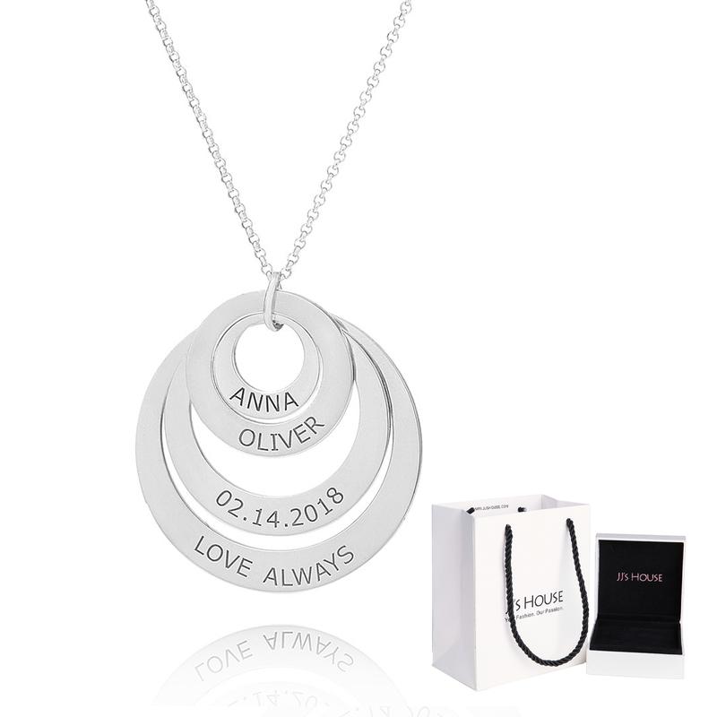 Personlig sølv Gravering / Inngravert Familie fire Circle Necklace med Barnenavn - Bursdagsgaver Morsdag Gaver