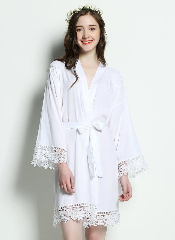 Cotton Bride Bridesmaid Junior Bridesmaid Blank Robes Lace Robes