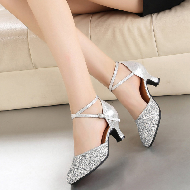 Women's Leatherette Sparkling Glitter Heels Ballroom Dance Shoes