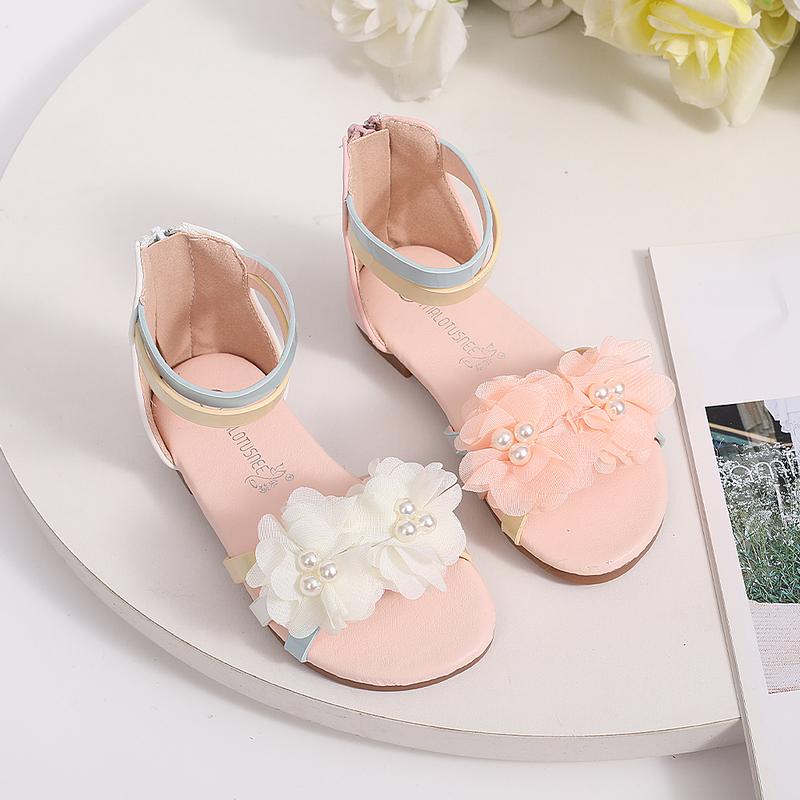 Jentas Titte Tå Leather lav Heel Flower Girl Shoes med Bowknot