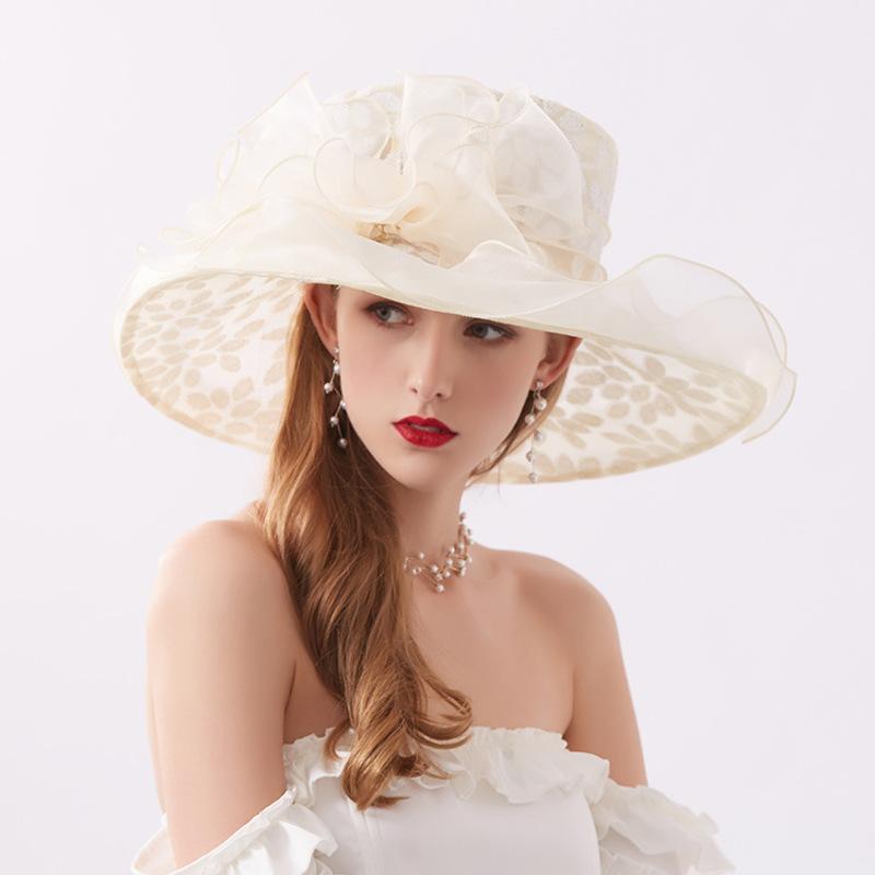 Damene ' Glamorøse/Iøynefallende Organza med Rhinestone Strand / Sol Hatter/Kentucky Derby Hatter/Tea Party Hats