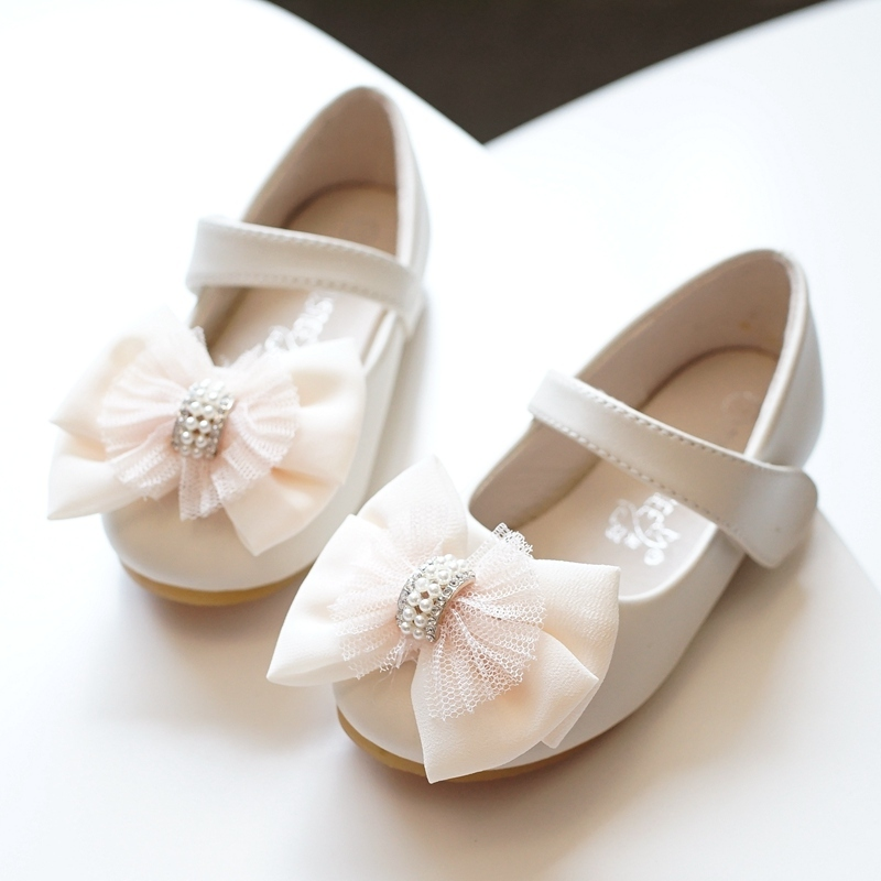 Girl's Round Toe Closed Toe Microfiber Leather Flat Heel Flats Flower Girl Shoes With Bowknot Velcro