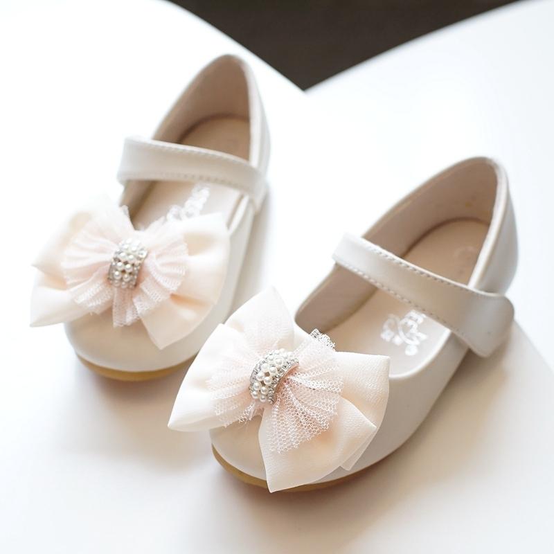 Jentas Round Toe Lukket Tå Microfiber Lær flat Heel Flate sko Flower Girl Shoes med Bowknot Velcro