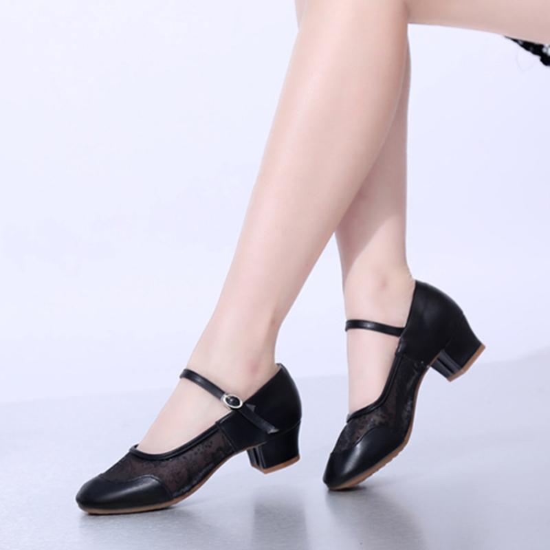 Women's Leatherette Lace Mesh Heels Pumps Character Shoes Dance Shoes