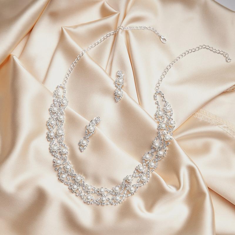 Nydelig Legering/Rhinestones med Perle Smykker Sett