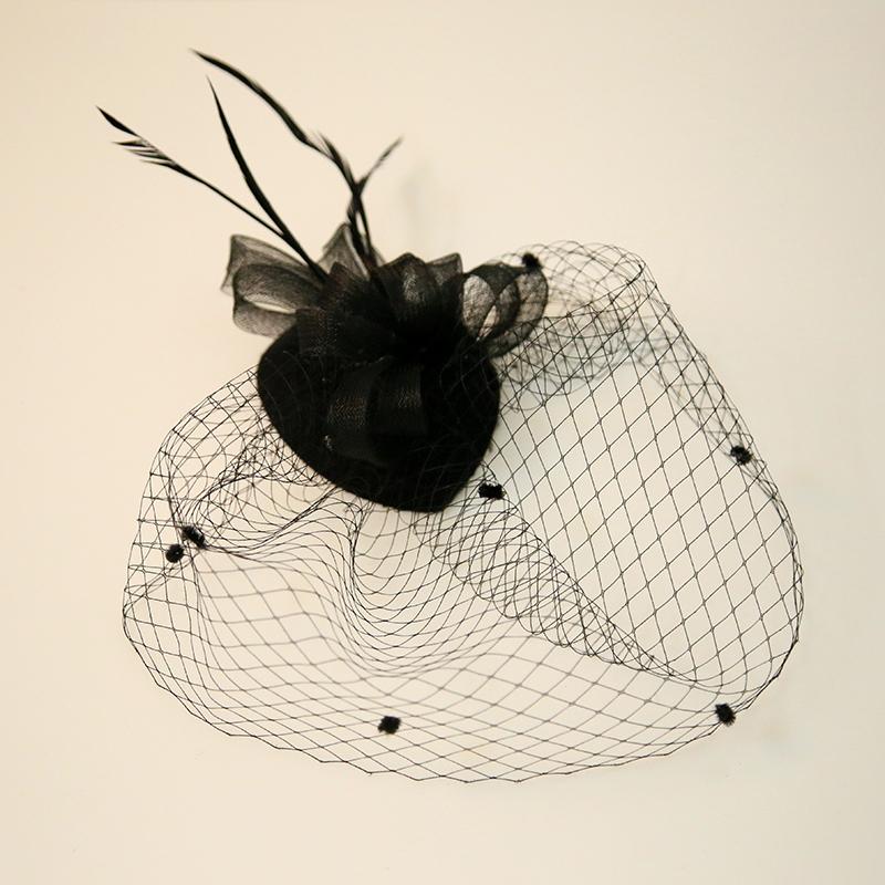 Ladies' Beautiful Feather/Net Yarn Fascinators
