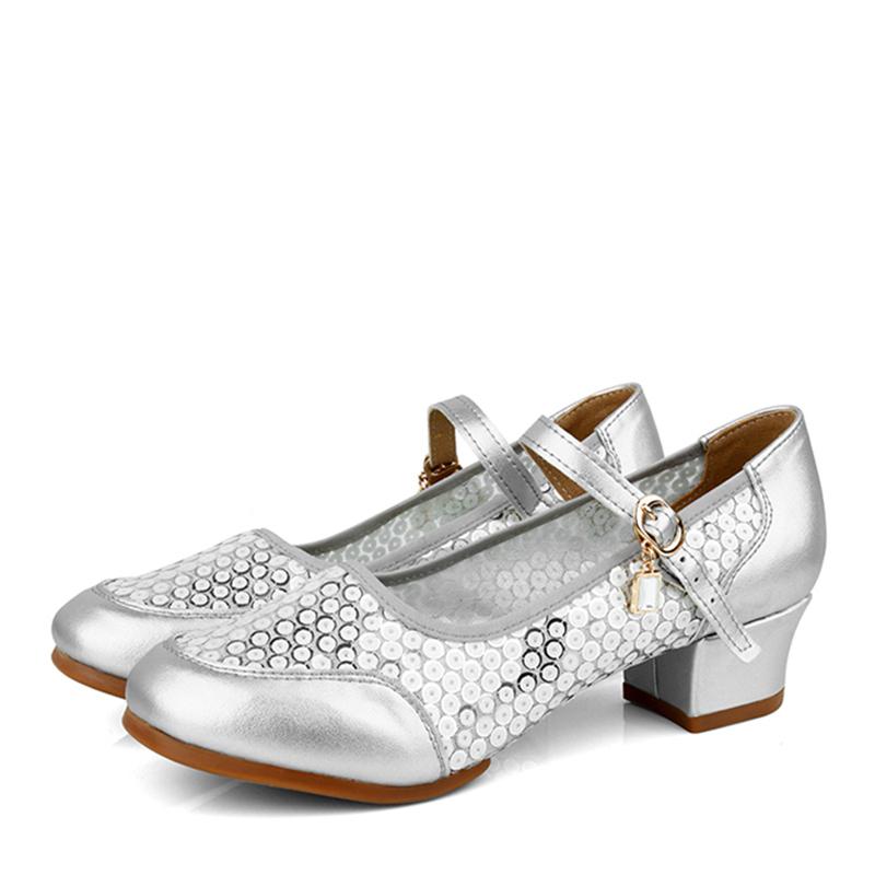 Women's Real Leather Heels Sneakers Practice Dance Shoes