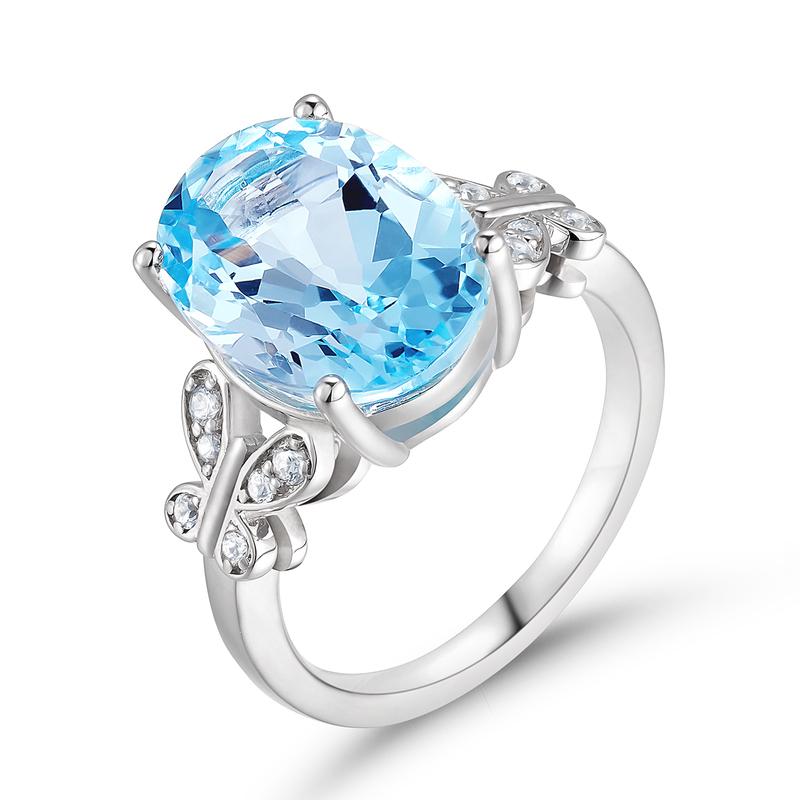 Butterfly Årgang Aquamarine Blue Oval Cut 925 sølv Forlovelsesringer