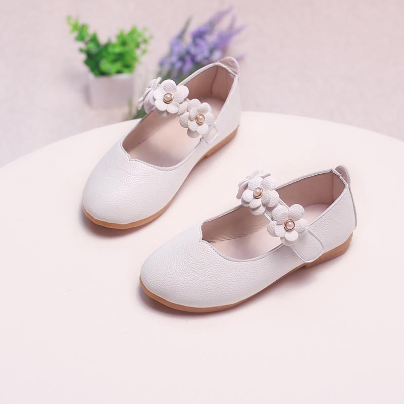 Jentas Lukket Tå Leather flat Heel Flower Girl Shoes med Velcro Blomst