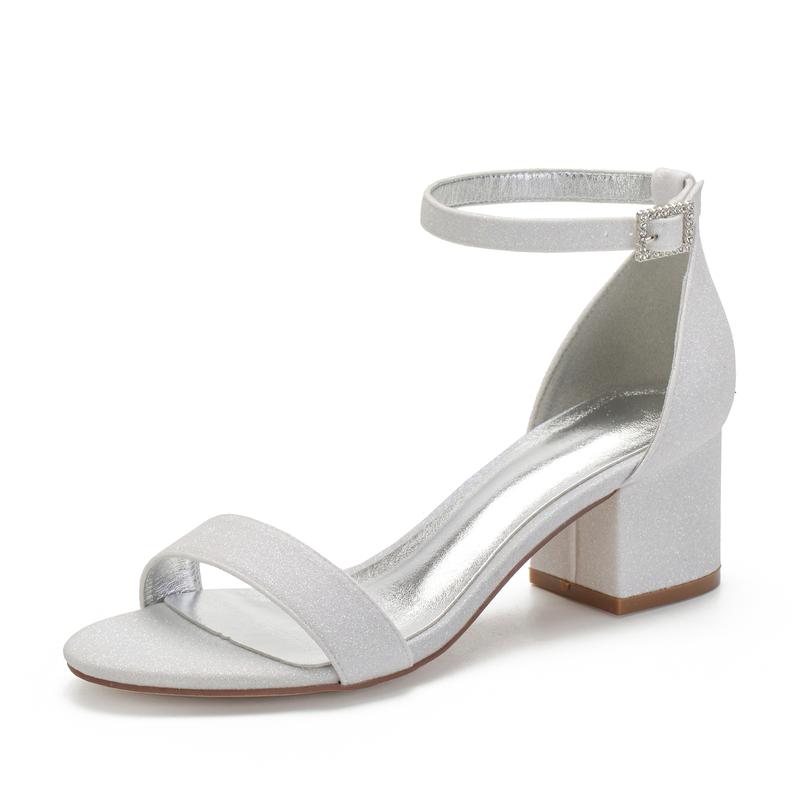 Kvinner Glitrende Glitter Stor Hæl Sandaler med Rhinestone